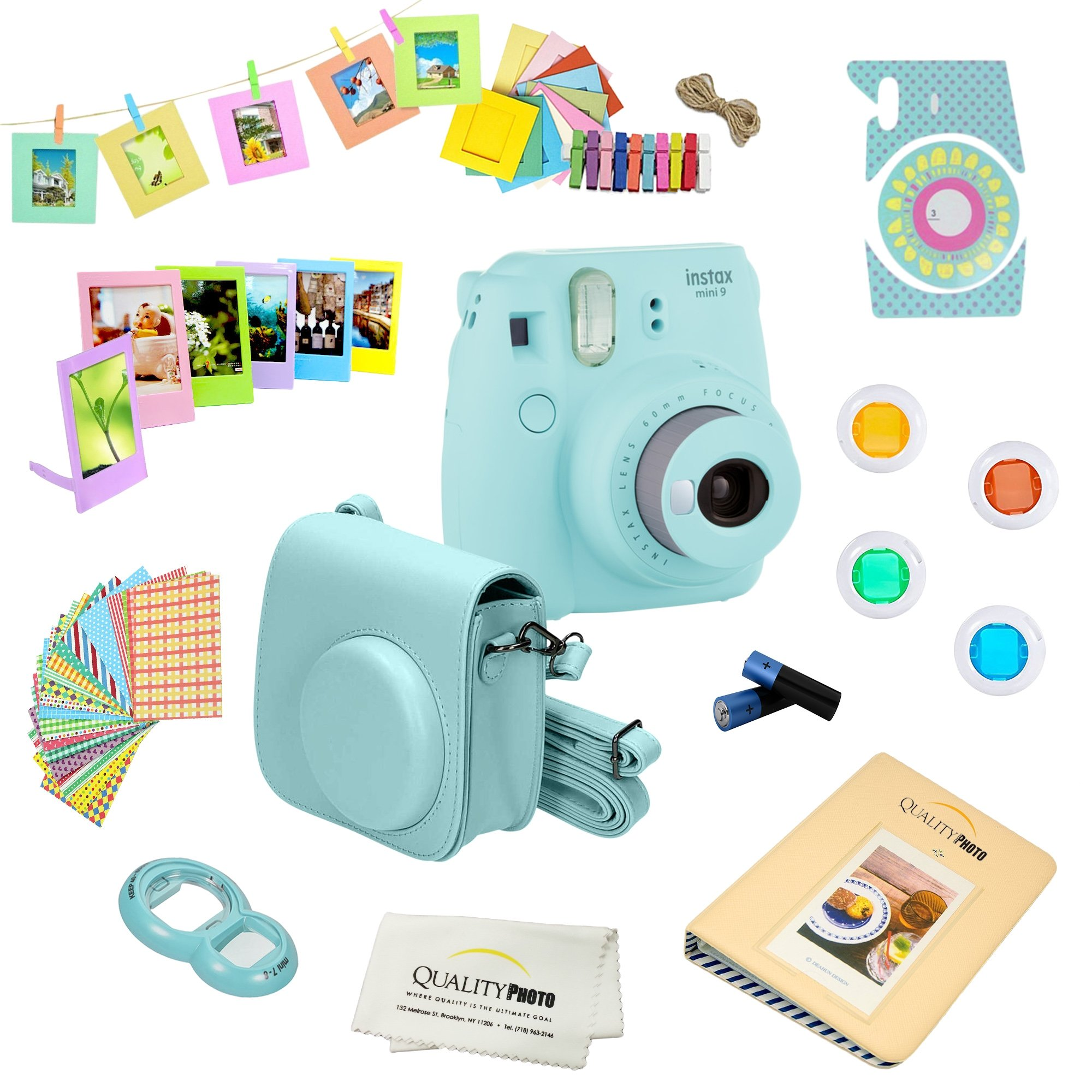 Fujifilm Instax Mini 9 Camera + 14 PC Instax Accessories kit Bundle, Includes; Instax Case + Album + Frames & Stickers + Lens Filters + MORE (Ice Blue) by Fujifilm