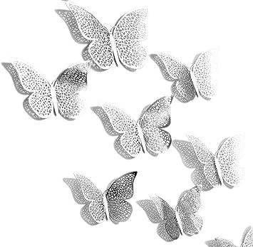 Attraktiv FiveSeasonStuff 24pcs 3D Silber Spiegel Hohlen Schmetterling Wand Aufkleber  / Karte Papier Wand Dekoration / Oberflächen