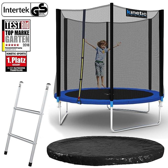 Kinetic Sports Outdoor Gartentrampolin Set inkl. Sprungtuch aus USA PP-Mesh +Sicherheitsnetz +Rand- u. Regen-Abdeckung +Leite