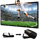 200 Inch Large Projector Screen Big 16:9 3D Portable Movie Screen Folding Projection Screen HD for Outdoor Indoor Home Theater Church with a Black Projector Bag