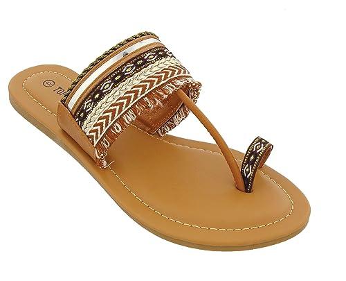 408d747253dd Top Moda Karen-1 Women s Embellished Strap Toe Loop Thong Sandal