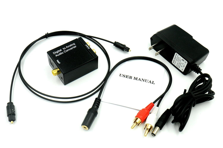 Digital óptico coaxial a analógico convertidor de audio RCA Adaptador, con 3.28 pies cable óptico Toslink y 3,5 mm estéreo y Cable divisor RCA L/R salida ...
