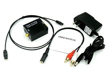 Digital óptico coaxial a analógico convertidor de audio RCA Adaptador, con 3.28 pies cable óptico