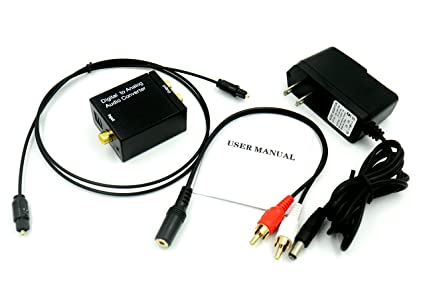 Digital Optical Coax to Analog RCA Audio Converter Adapter, with 3.28ft Optical Toslink Cable