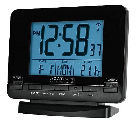 Acctim Delaware elegante Radio Controlado Dual alarma reloj calendario y temperatura interior