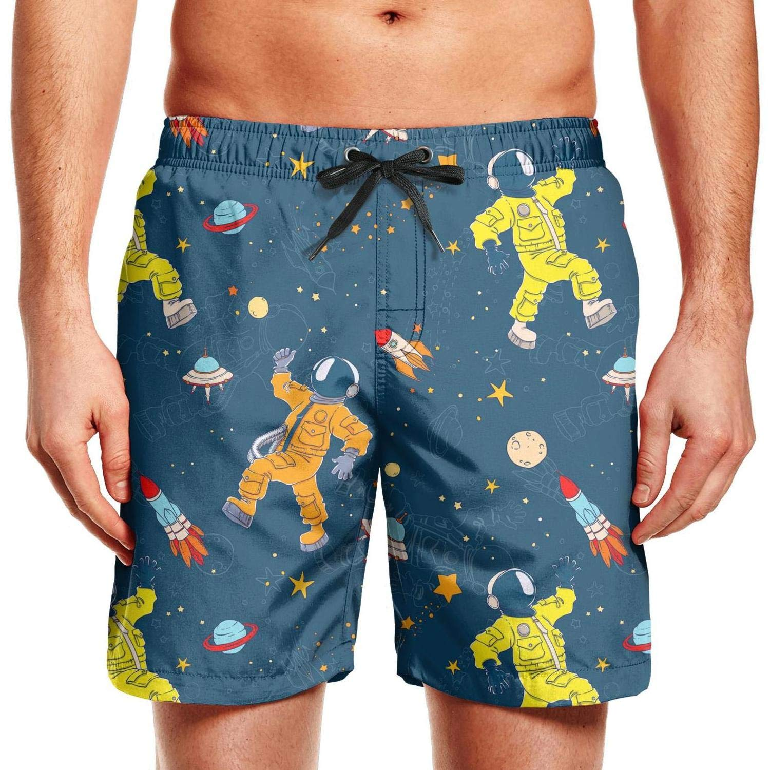 FPPING Mens Black Space Flexible Astronaut Adjustable Swimming Beach Swim Trunk