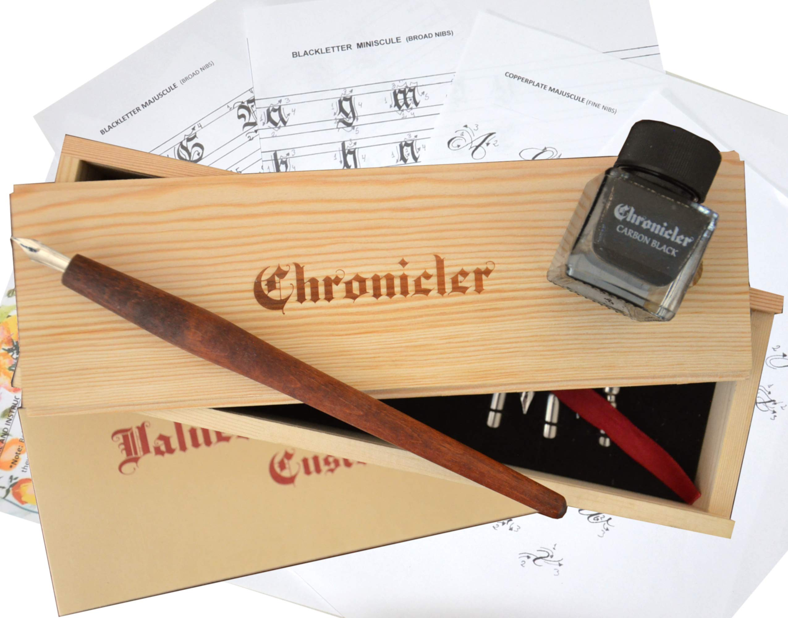 Calligraphy Set for Beginners - Caligraphy Kit in a Gift Box with Instructions, Wooden Pen, 7 Nibs and Ink by Chronicler