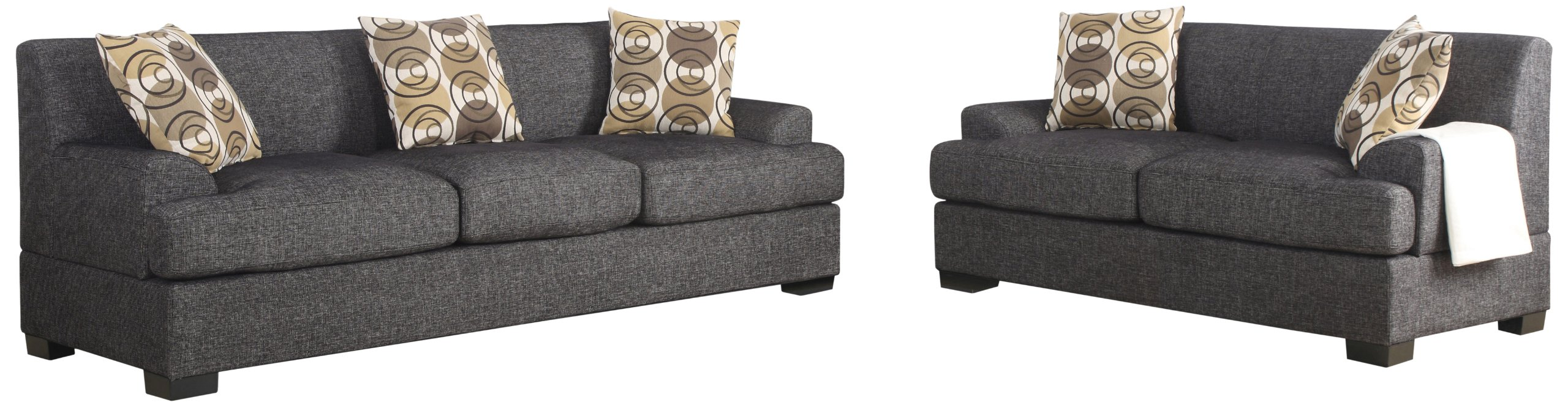 Poundex Montereal 2-Piece Sofa and Loveseat Collection Set with Faux Linen fabric, Ash Black Color