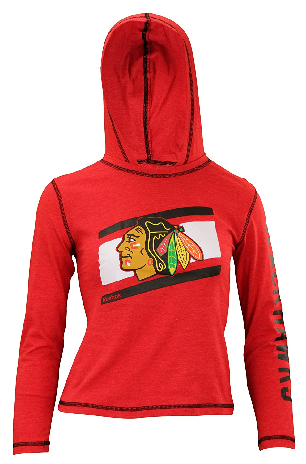 Reebok Chicago Blackhawks Girls Team Stripe Lightweight Hoodie