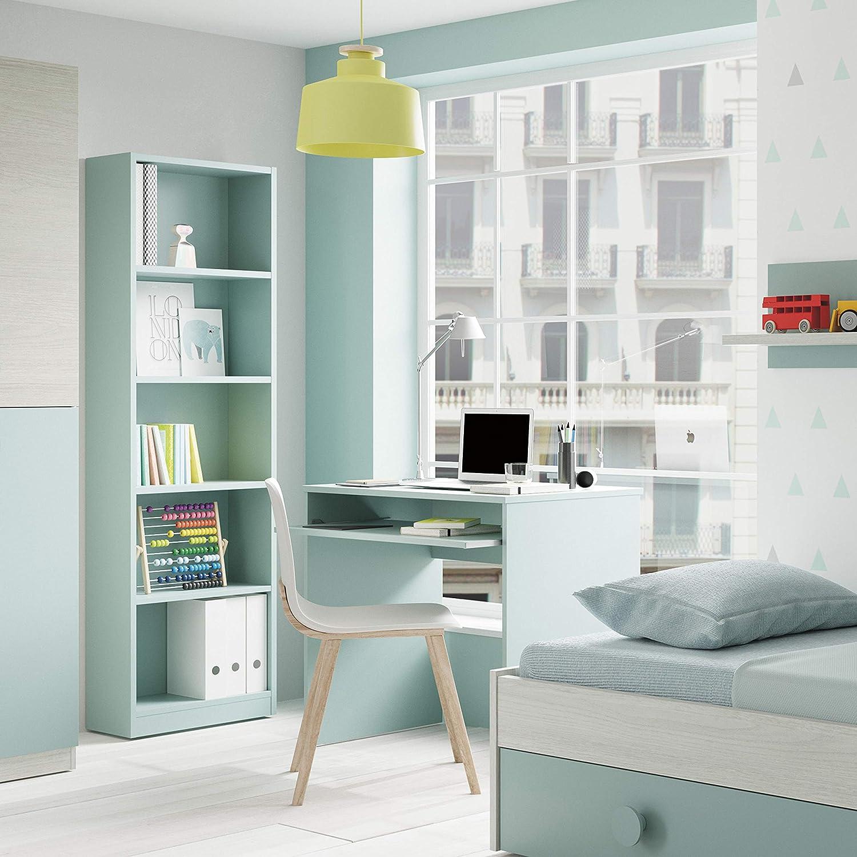 Habitdesign Mesa de Ordenador con Bandeja extraíble, Modelo I-Joy, Medidas: 90 cm (Ancho) x 54 cm (Fondo) x 79 cm (Altura), Verde acqua
