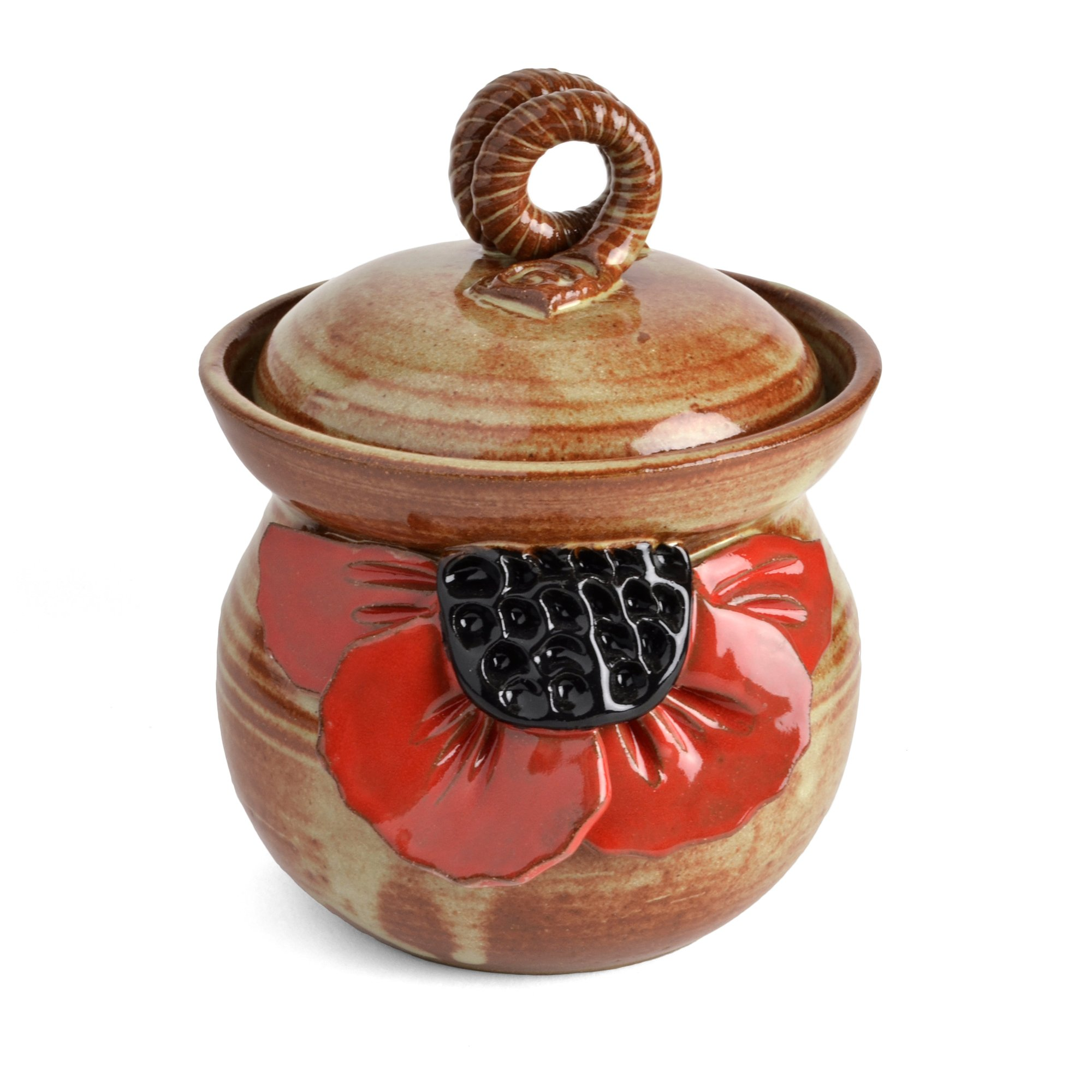 MudWorks Pottery Red Poppy Garlic Keeper by MudWorks Pottery