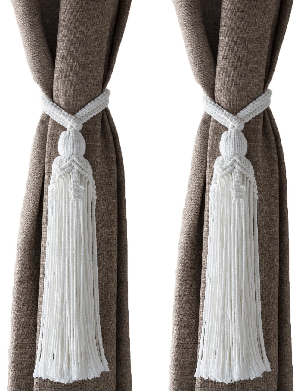 Mkono Macrame Curtain Tiebacks Window Treatment Holdbacks Drapery Boho Decor Tassel White Cotton Rope, Set of 2