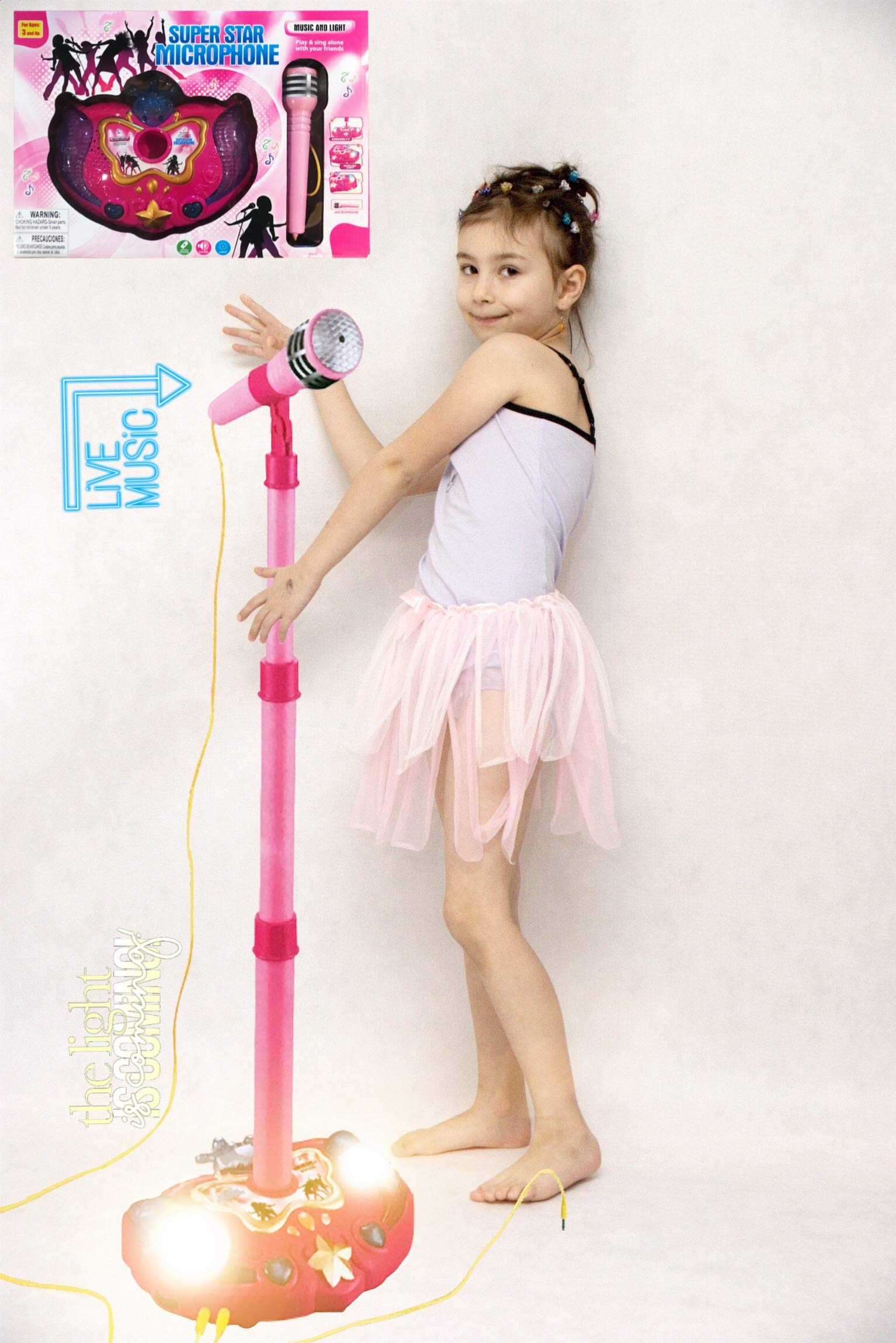 LilPals Princess Karaoke -Children's Toy Stand Up Microphone Play Set w/ Built-in MP3 Player, Speaker, Adjustable Height (Pink) by LilPals (Image #4)