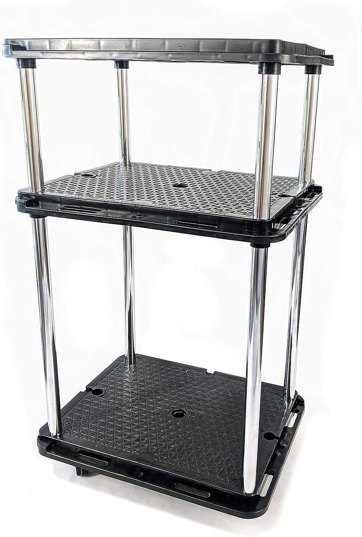 LapWorks Link-It Utility Cart, Heavy Duty, 350 Pound, Modular, Multipurpose Rolling Cart 3 Tier Cart