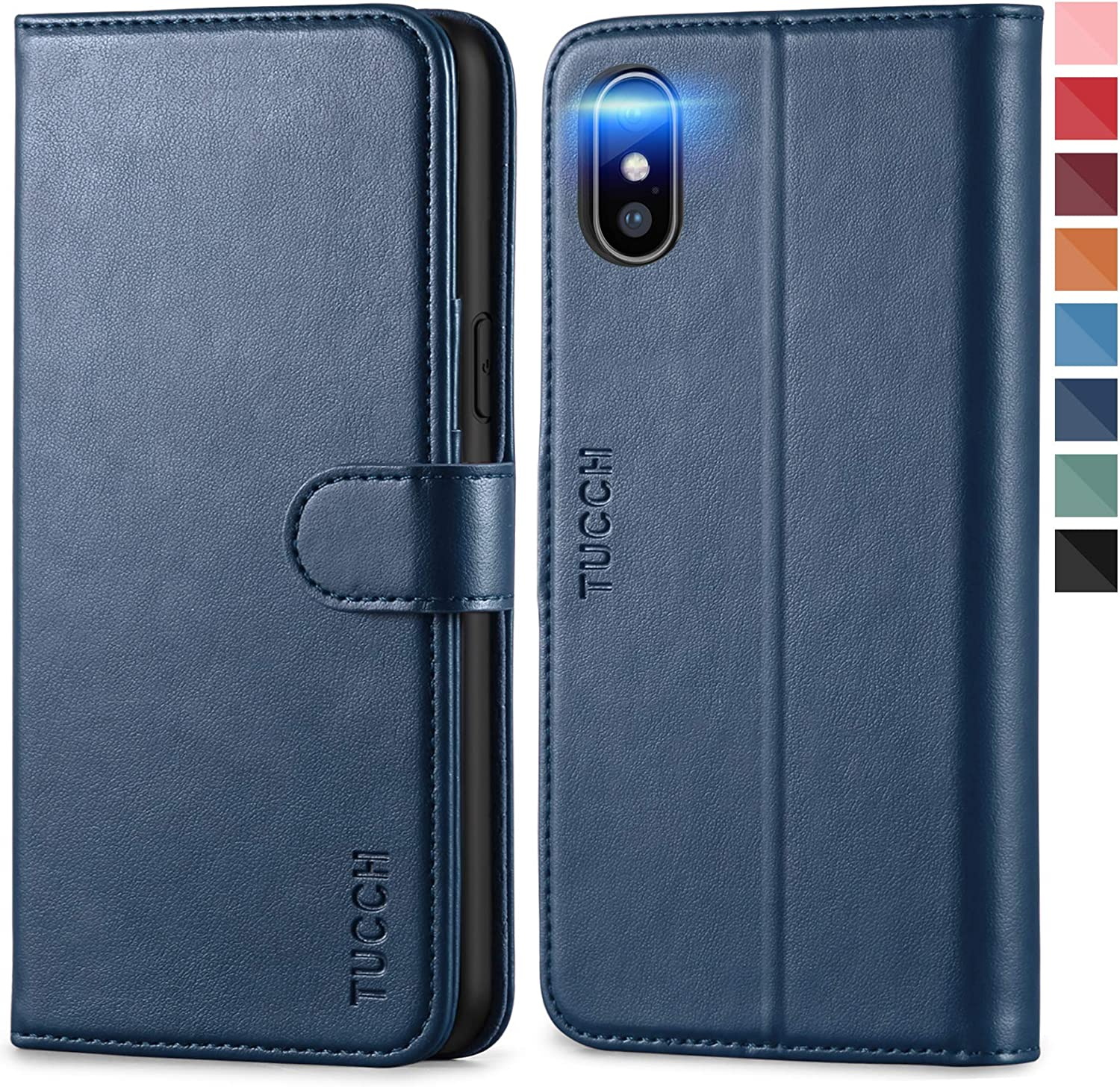 TUCCH iPhone Xs Case, iPhone Xs Wallet Case, Stand PU Leather Flip Book Case RFID Blocking Wireless Charging Credit Card Slot, Auto Wake/Sleep Shockproof TPU Shell Compatible with iPhone Xs-Dark Blue