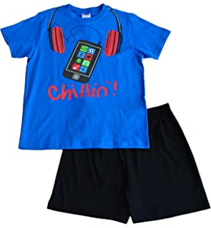 Boys Chillin Mobile Phone Short Pajama 11 to 16 Years Blue Pj PJs