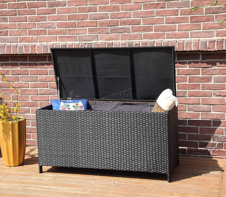 WestWood Rattan-Aufbewahrungsbox, Gartenmöbel mit Deckel, gewebte Truhe / Korb, groß, für Terrasse, für den Außenbereich, aus PE, RSB01, schwarz