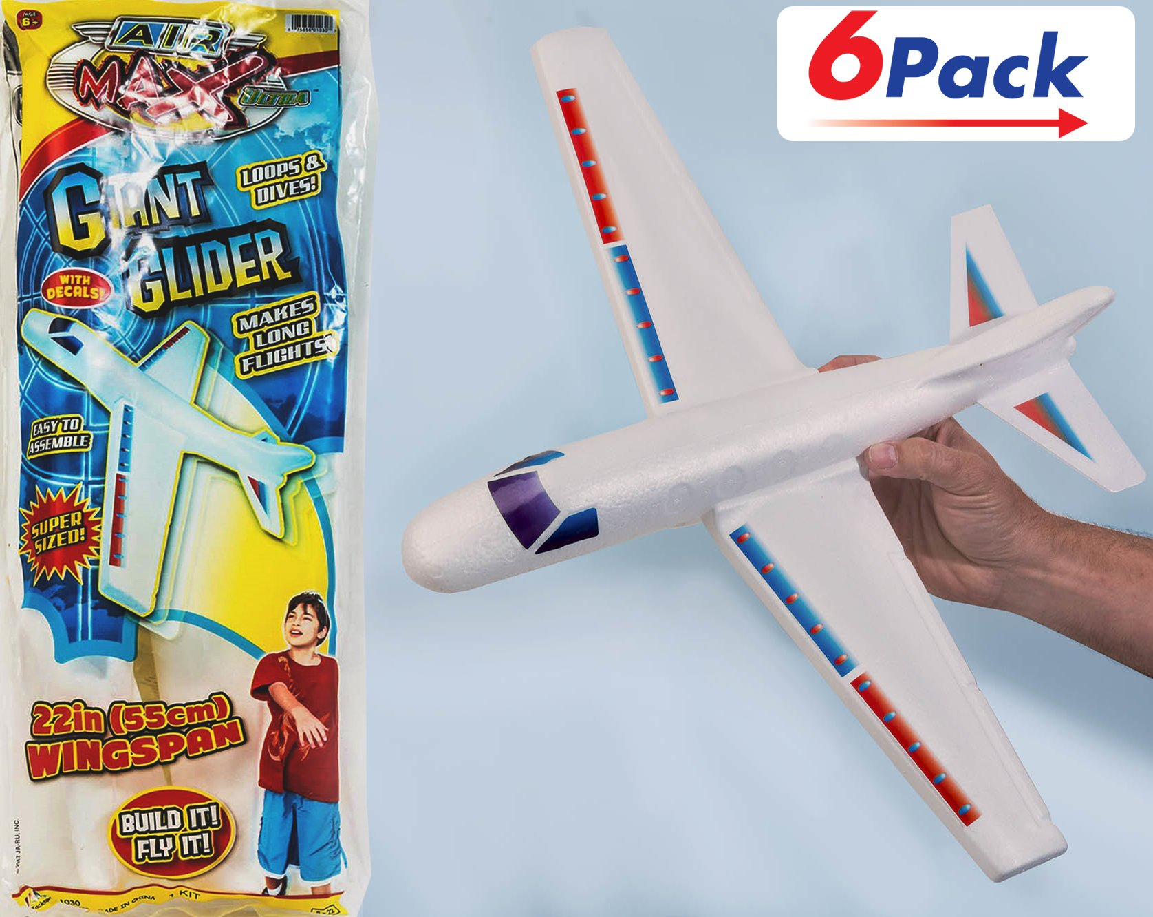 2GoodShop Giant Airplane Glider Kids Fying Toy Build It, Throw It and Watch It Glide Hours of Outdoor Fun Pack of 6 | Item #1030 by 2GoodShop (Image #1)