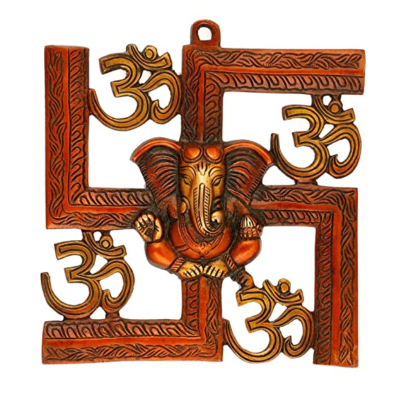 Buy Collectible India Brass Lord Ganesha On Swastik With Om Wall