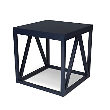 Kate And Laurel Kaya Wood Cube Side Table, Navy Blue