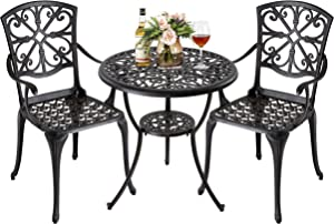 Nuu Garden 3 Piece Aluminum Outdoor Bistro Set Patio Table Sets Outdoor Furniture with Umbrella Hole for Yard,Balcony-Black