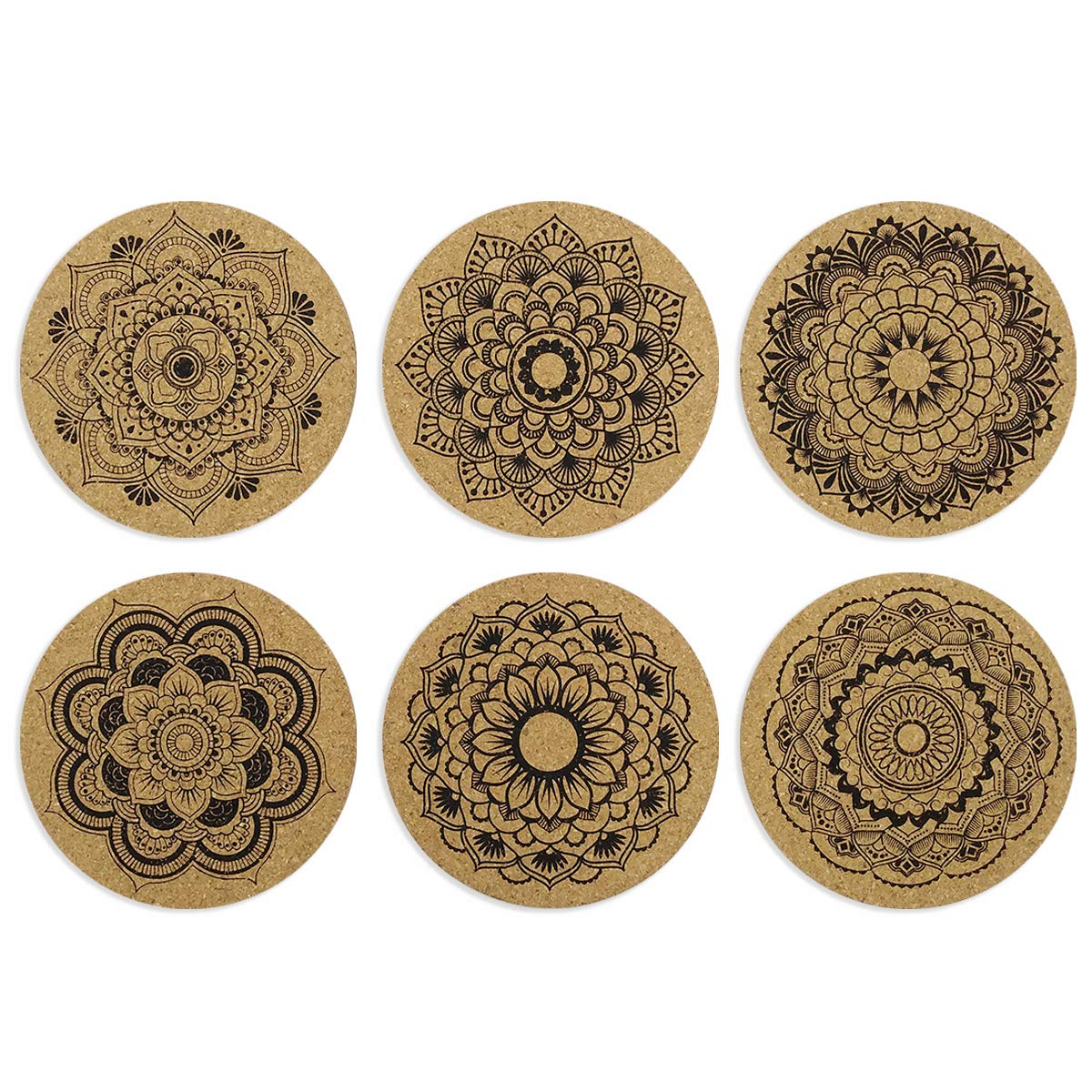 Mandala Cork Coasters for Drinks, Cork Coasters Absorbent Reusable Cup Mat Round Edge Coaster–Set of 6