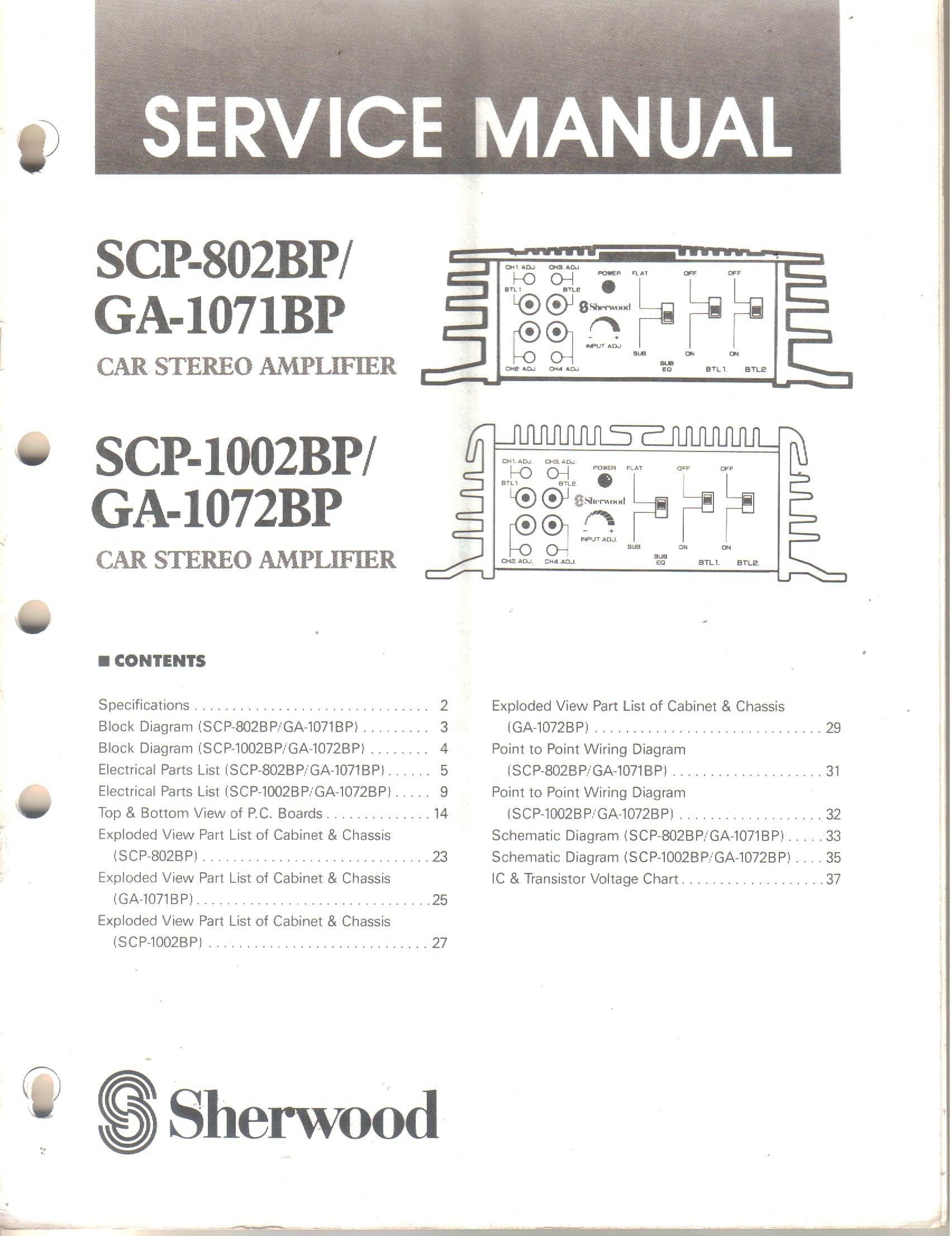 Sherwood Scp 802bp Ga 1071bp 1002bp 1072bp Car Stereo Schematic Wiring Diagram Page 81 Amplifier Service Manual Not Stated Books