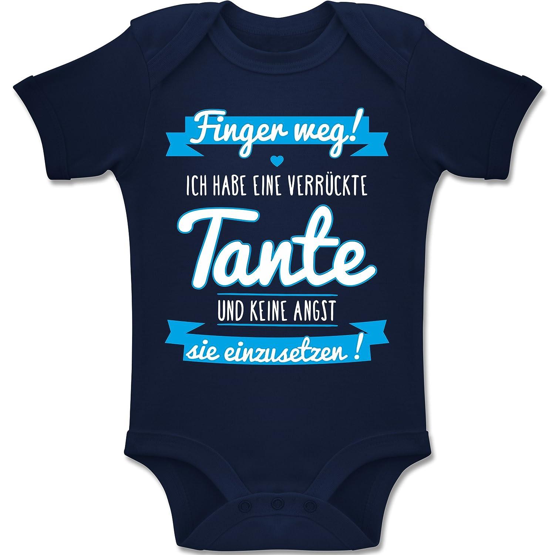 Shirtracer Sprüche Baby - Ich Habe Eine verrückte Tante Blau - Baby Body Kurzarm Jungen Mädchen BZ10