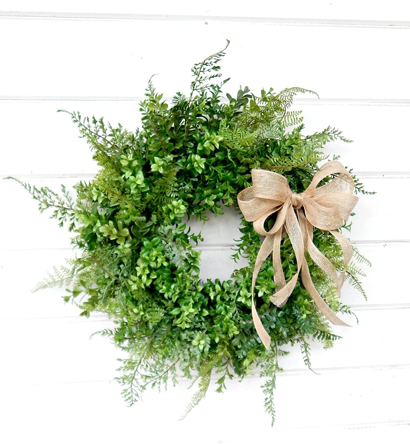 Boxwood Wreath, Fern Wreath, Fall Wreath, Winter Wreath, Farmhouse Wreath, Farmhouse Home Decor, Housewarming Gift, Door Wreath, Front Door Wreath, Holiday Wreath, Summer Wreath, Year Round Wreath