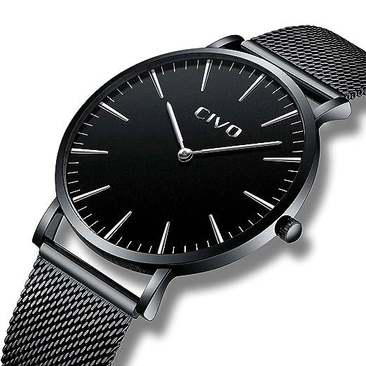 18c251f74888 CIVO Reloj Negro Ultra Fino para Hombre Minimalista Moda Relojes de Pulsera  para Hombres Vestir Casual