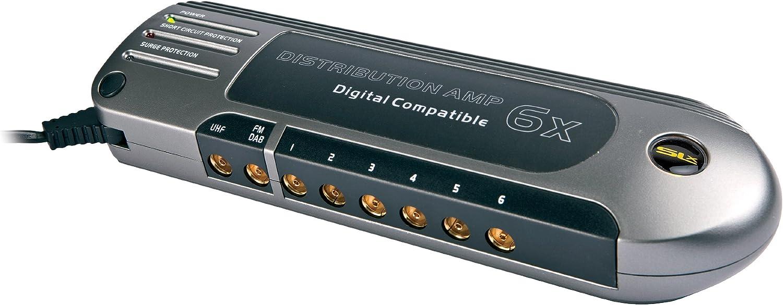 SLx 28104RG - Amplificador de distribución de Antena Compatible con 6 Salidas 4G, Color Dorado