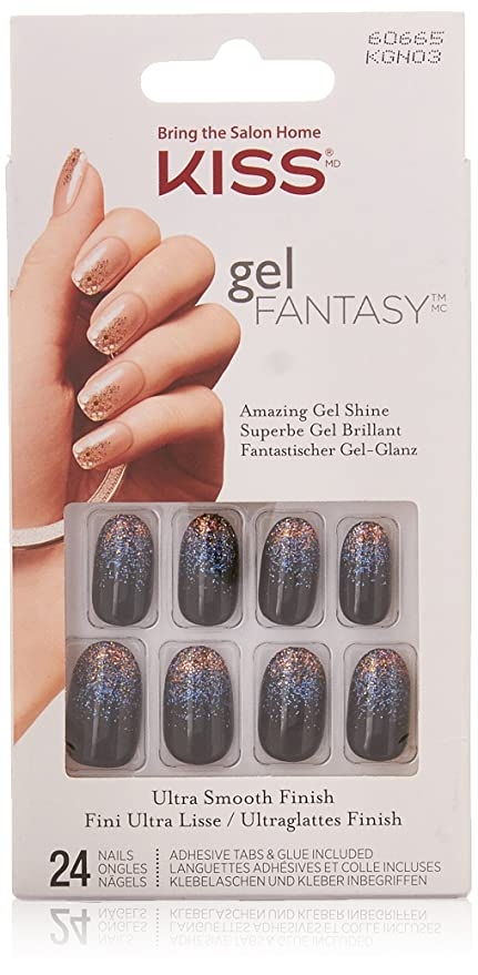 Kiss Gel Fantasy Nails-Painted Veil, 1 paquete (1 x 24 Pieza)