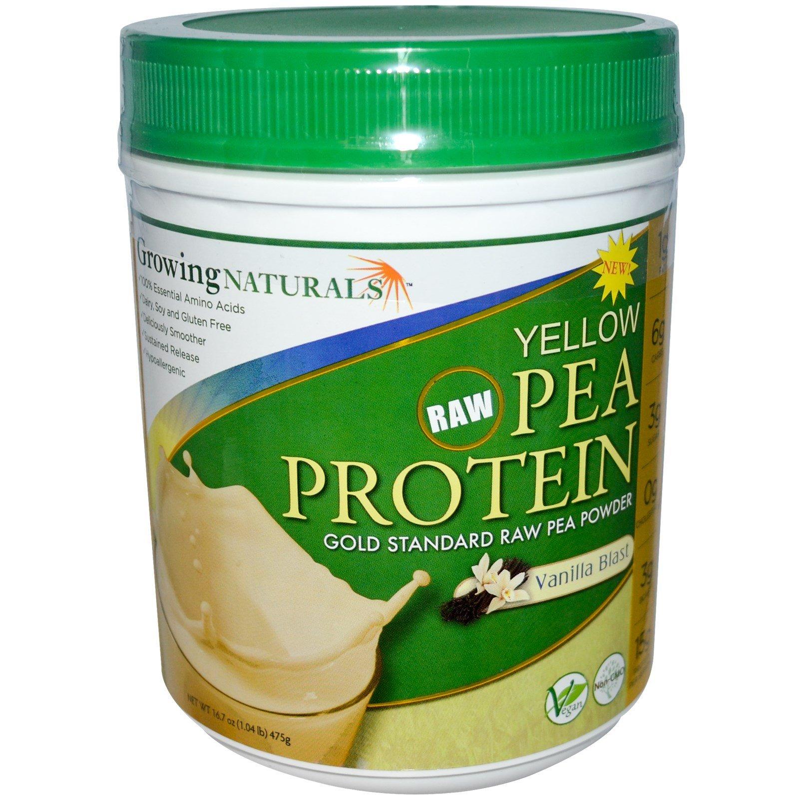 Growing Naturals, Yellow Pea Protein, Vanilla Blast, 16.7 oz (475 g) - 3PC