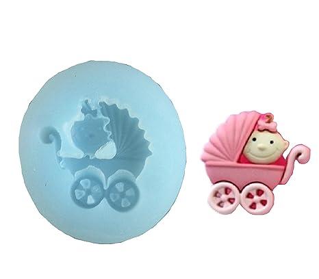 Cochecito Bebé niña nacimiento molde de silicona pastel molde fondant decoración de pasteles DIY para galletas