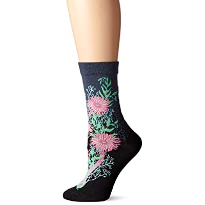 Ozone Womens Bubbling Blooms Sock, black, 9-11 at Women's Clothing store