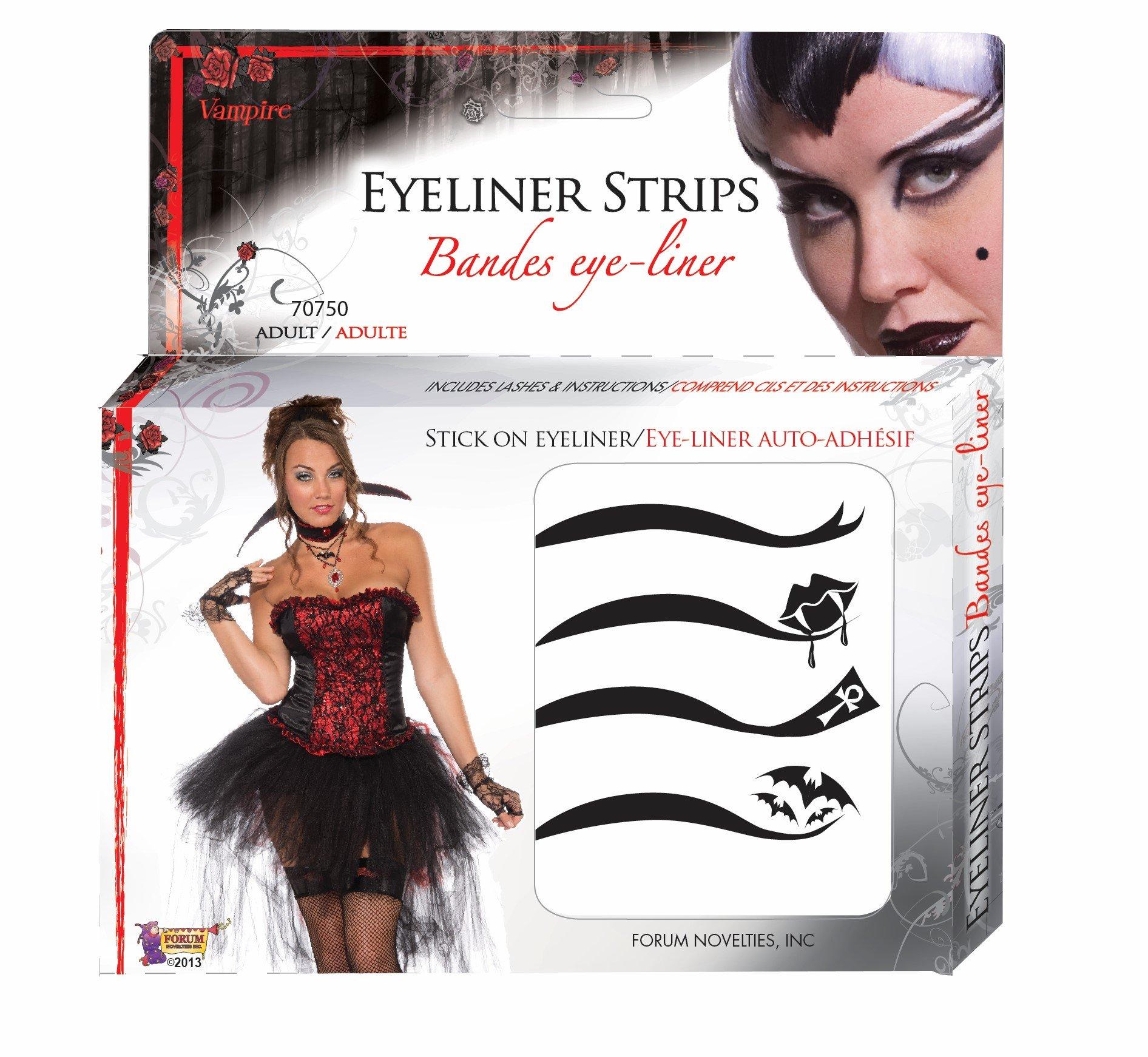Forum Novelties Women's Vampires Adhesive Eyeliner Strips Kit, Multi, One Size