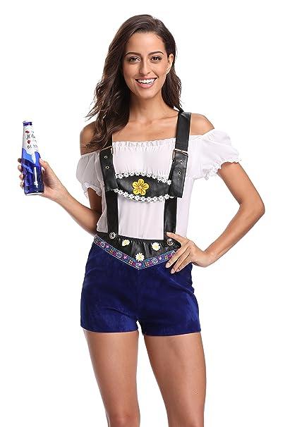 Amazon.com: Womens Oktoberfest Lederhosen cerveza Chica ...