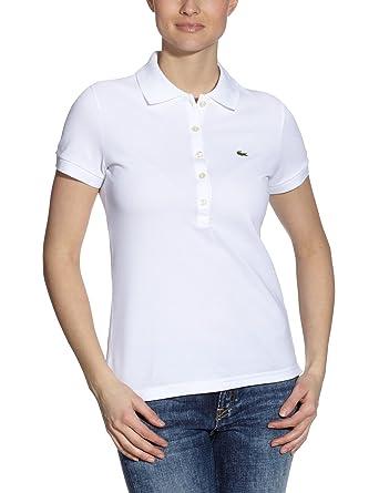 04a831f05fd Lacoste Women's Short Sleeve Slim Stretch Polo, White, Size EU 42 ...