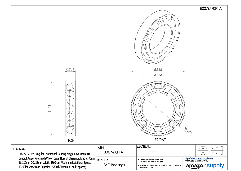 32mm Width Single Row Open 170mm OD FAG 7219B-MP-UA Angular Contact Ball Bearing 95mm ID Normal Clearance 26500lbf Dynamic Load Capacity, Brass Cage 40/° Contact Angle 4000rpm Maximum Rotational Speed 24500lbf Static Load Capacity Metric