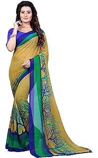 e75b31a3e4e Anand Sarees Georgette Saree with Blouse Piece (1341 Multicoloured Free size )