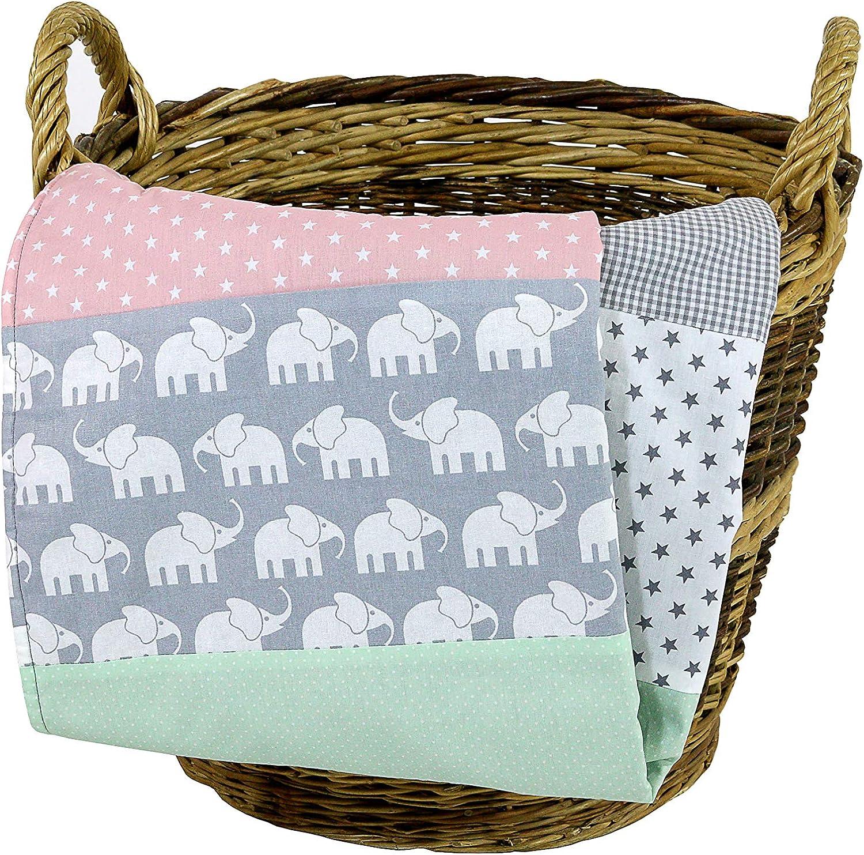 Colcha para bebé de ULLENBOOM ® con elefantes menta rosa (manta de arrullo para bebé de 70x100 cm, ideal colcha para el cochecito; apta alfombra de juegos)