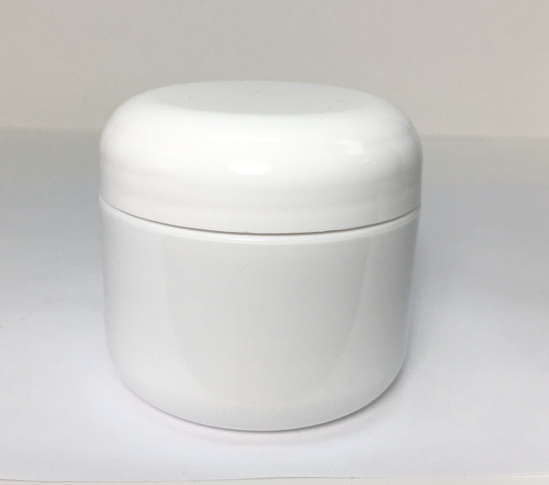 2oz Double Wall Round-Base White Plastic Jar with Foil Lined Dome Lid