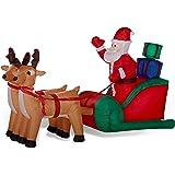 Traîneau à rennes avec Père Noël gonflable lumineux 240 cm de long décoration de Noël extérieure de Gartenpirat®