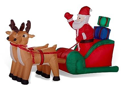 Casetta Di Natale Gonfiabile : Slitta renne con babbo natale gonfiabile illuminato lungo 240