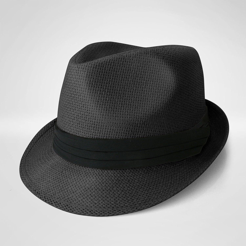 ブラックStraw Fedora帽子Trilbyキューバキャップ夏ビーチサンパナマショートつば花柄   B011303HAU