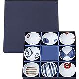 西海陶器 波佐見焼 皿 末広 珍味皿 染錦 絵変り 化粧箱入 直径 8 cm 8枚 セット 13307