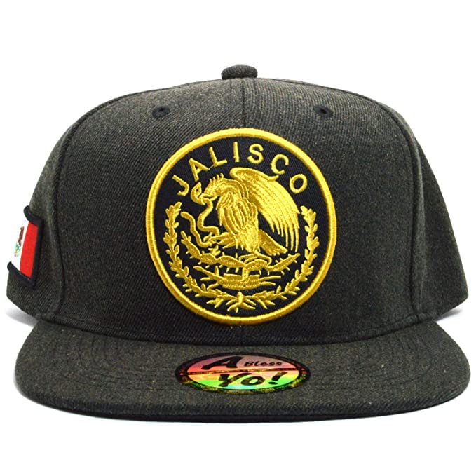 ae41404bfaa AblessYo Mexican hat Mexico Flag Charcoal Black Snapback Baseball Cap Flat  AYO6042 (Jalisco)