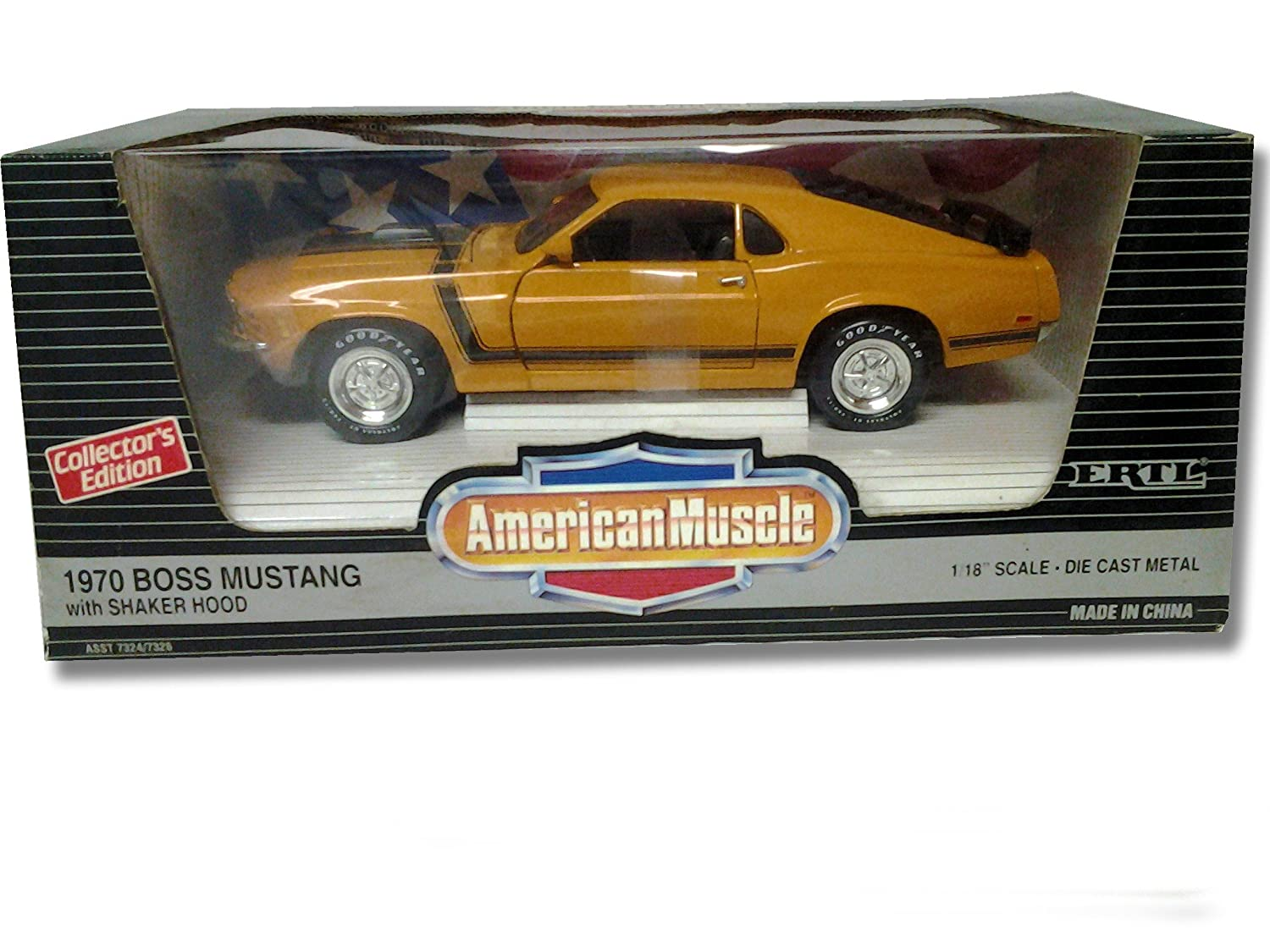 Amazon com ertl american muscle 1970 boss mustang with shaker hood grabber orange 1 18 scale die cast model toys games