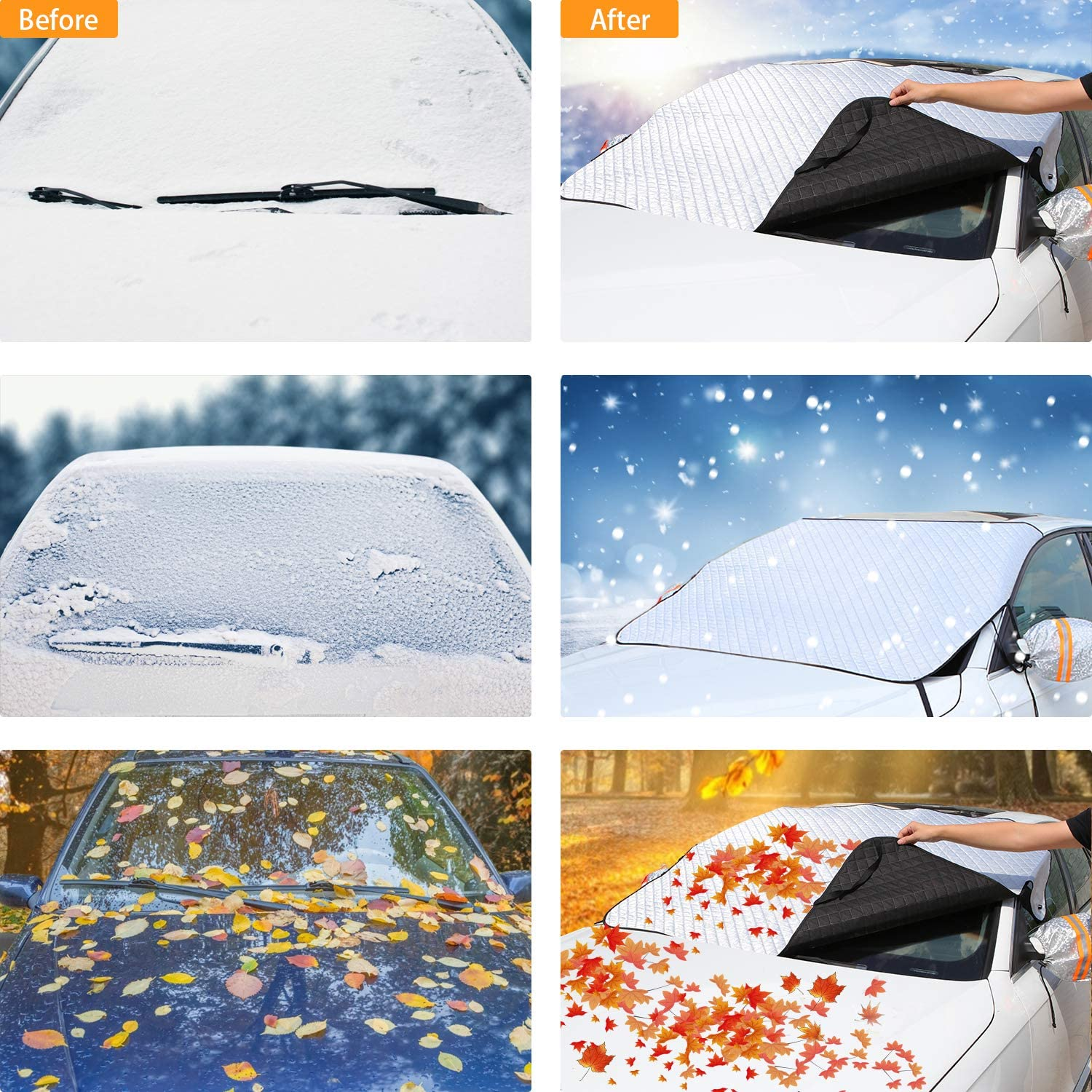 SUVs Trucks Windshield Cover Set for Ice and Snow for Car with 4 Magnets and 4 Layer Protection Waterproof,Snow,Ice,Frost Defense,Windproof Upgraded Car Windshield Snow Cover Fits Most Cars