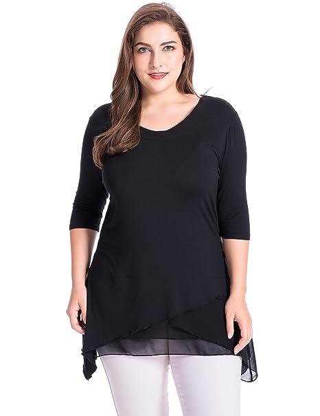 Chicwe Blusas Tops Tallas Grandes Mujeres Camisetas Tejidos Capas con Gasa, Negro 1X